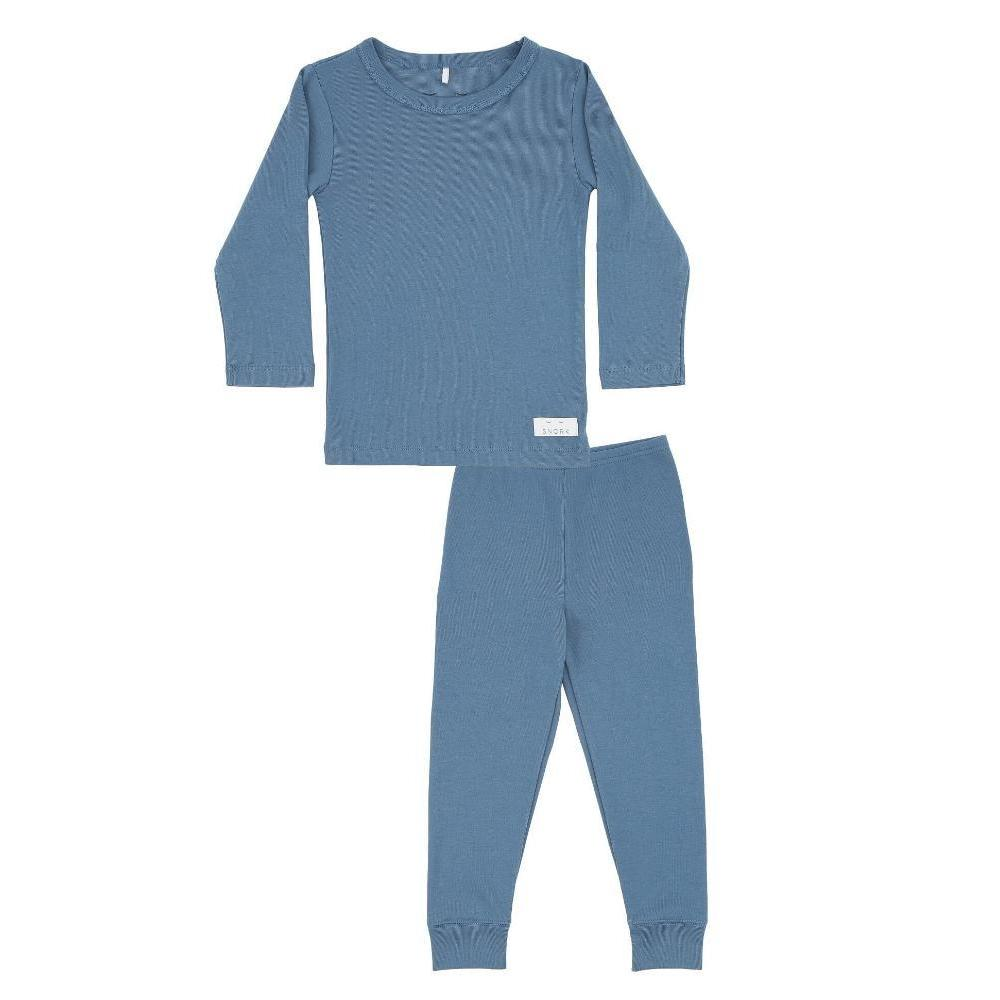 Organic Cotton Pyjama Long Set - Dusty Blue