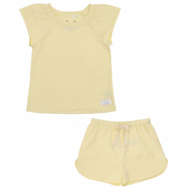 Organic Cotton Pyjama Short Set - Pastel Yellow