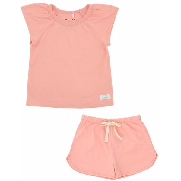 Organic Cotton Pyjama Short Set - Peach Blush