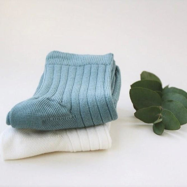 Organic Cotton Mid Length Socks - Sea Green/Off-White