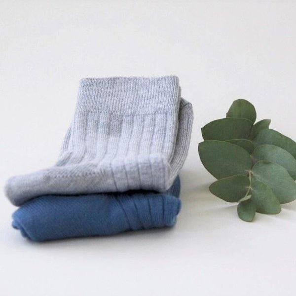 Organic Cotton Mid Length Socks - Dusty Blue/Grey Melange