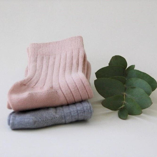Organic Cotton Mid Length Socks - Dusty Rose/Grey Melange