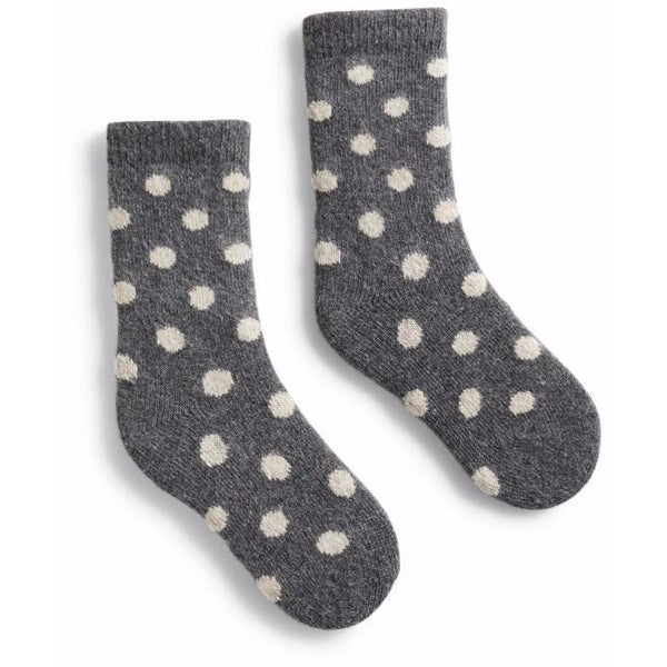 Toddler Classic Dot Wool & Cashmere Socks - Grey Heather