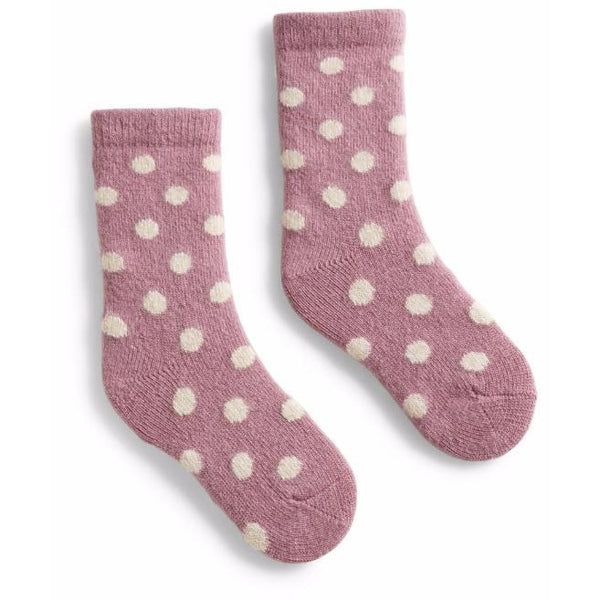 Toddler Classic Dot Wool & Cashmere Socks - Mauve