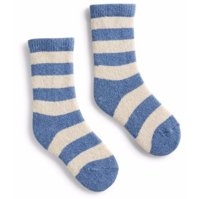 Toddler Classic Stripe Wool & Cashmere Socks - Chambray