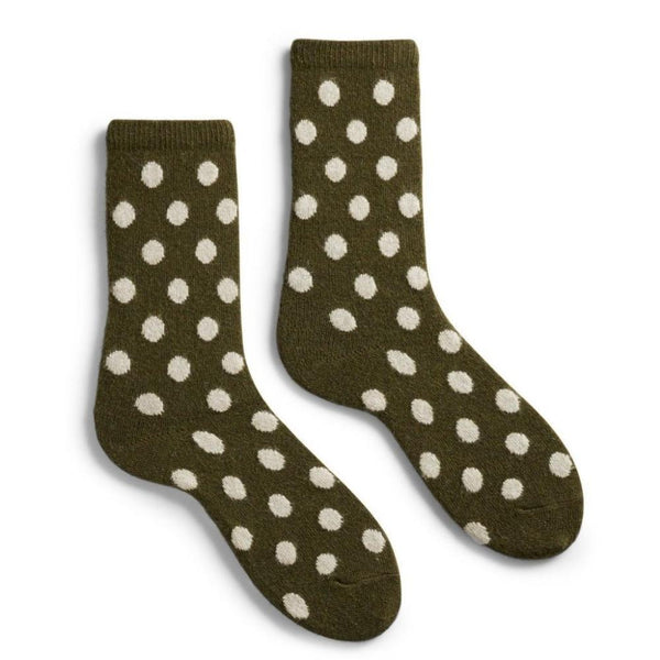 Lisa b. Women's Classic Dot Socks - Olive