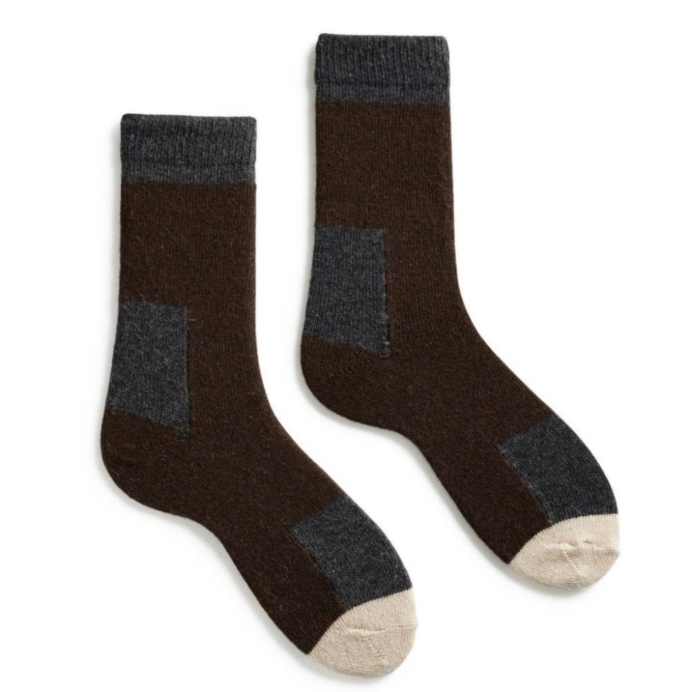 Lisa b. Women's Wool Cashmere Patch Socks - Espresso (last one)