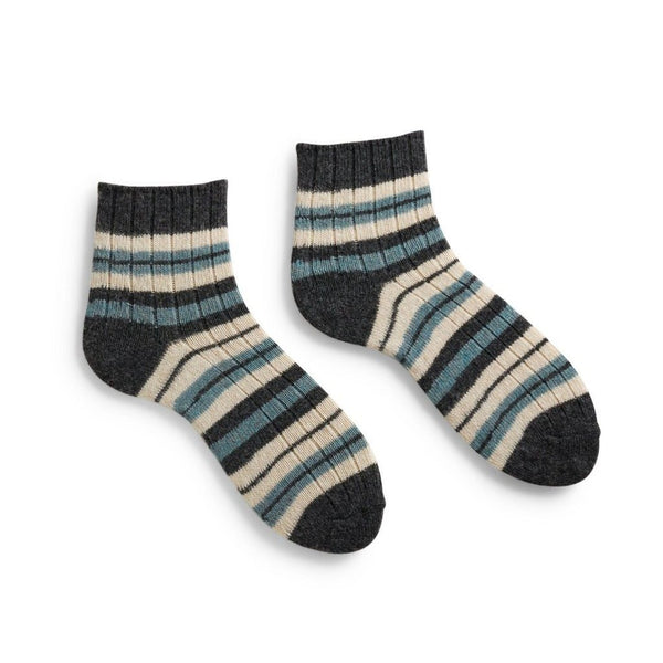 Lisa b. Women's Stripped Rib Shortie Socks - Mineral (last one)