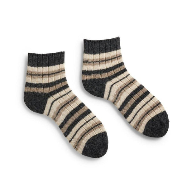 Lisa b. Women's Stripped Rib Shortie Socks - Mushroom (last one)