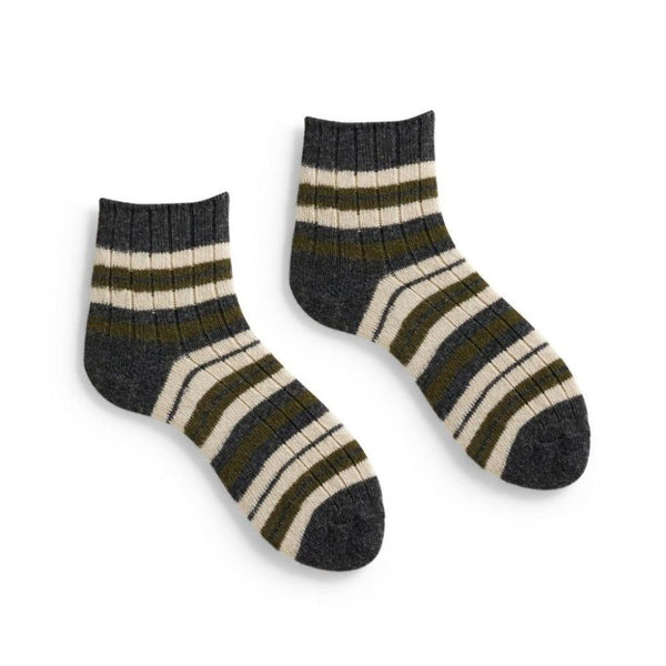 Lisa b. Women's Stripped Rib Shortie Socks - Olive