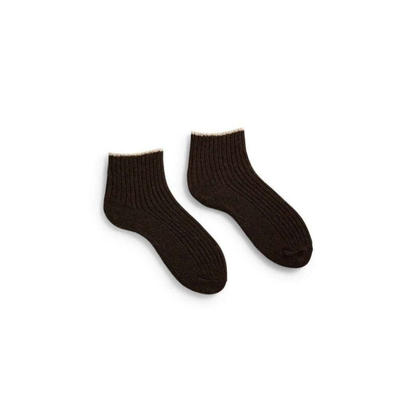 Women's Tipped Rib Wool & Cashmere Shortie Socks - Espresso