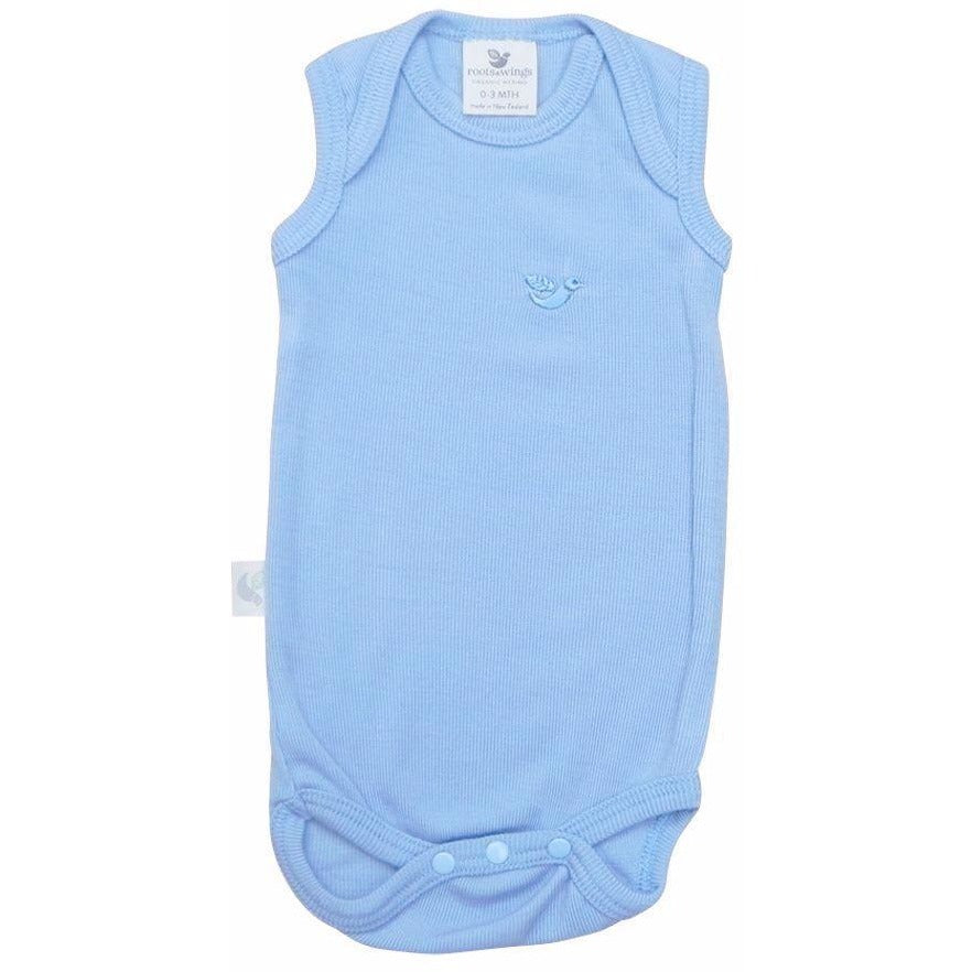 Organic Merino Rib Singlet Body - North Sea Blue