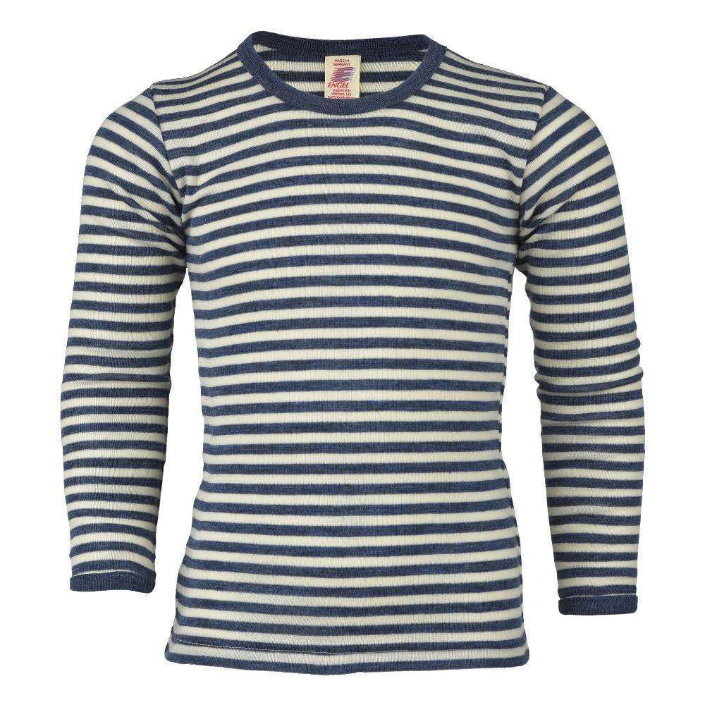 Engel Organic Merino Long Sleeve Top - Blue Melange Stripe