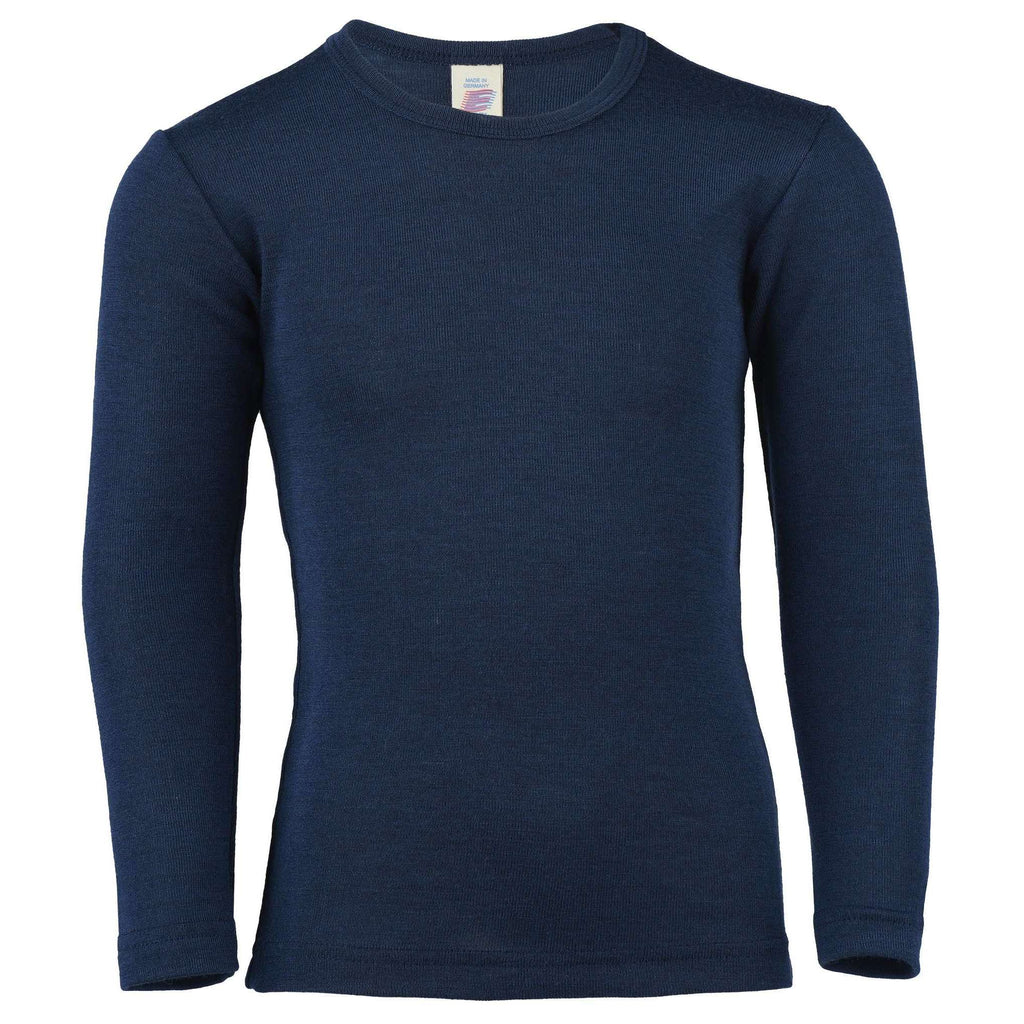 Engel Long Sleeved Top in Wool/Silk - Navy Blue