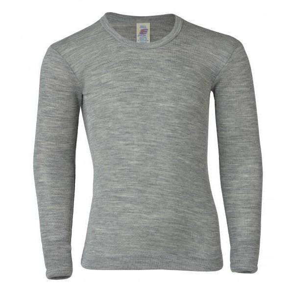 Long Sleeved Top in Wool/Silk - Grey Melange