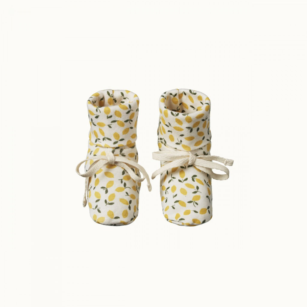 Organic Cotton Booties - Lemmony Print