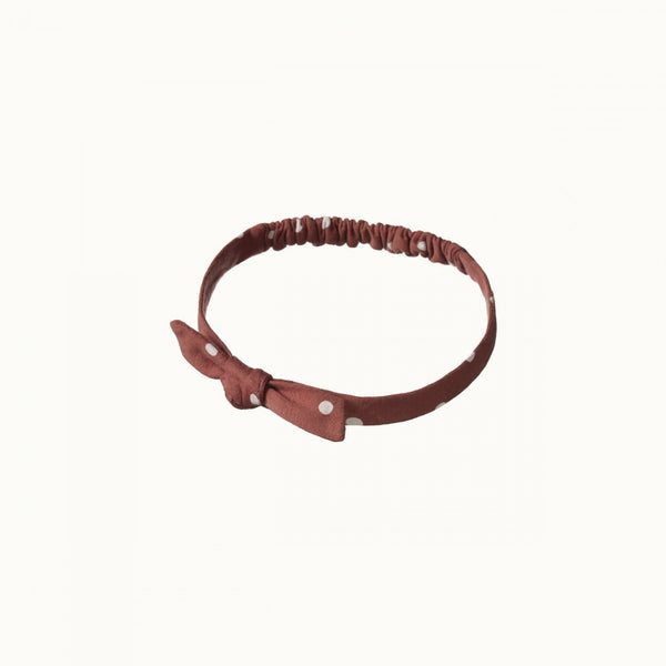 Stretch Jersey Bow Headband - Dottie Terracotta Print
