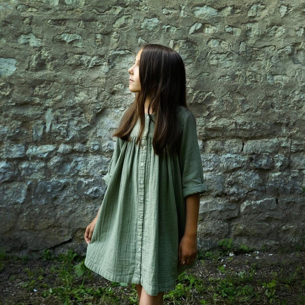 Organic Cotton Button Dress - Oil Green