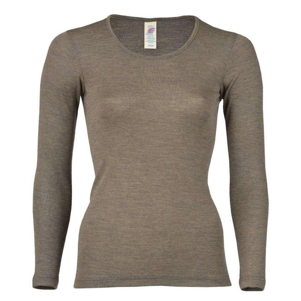 Womens Merino Wool & Silk Longsleeve Top - Walnut