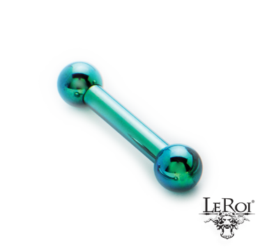 "LeRoi Ti Internally Threaded Straight Barbell with Ti Balls (over 1"" length)"