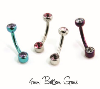 Industrial Strength SS Bezel-set Faceted Gem Curved Barbell with Faceted Gem (BFGCUBB)