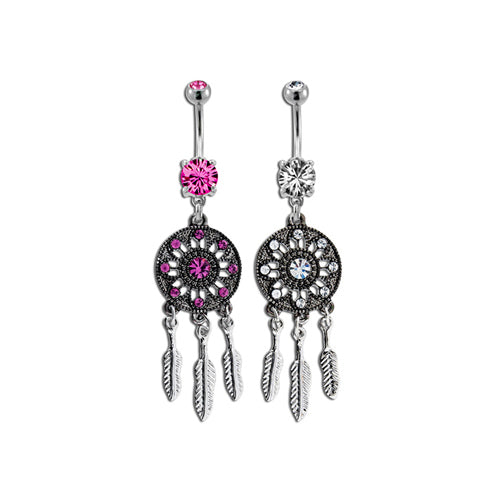 Metal Mafia Gem Dream Catcher Belly Ring (BNADC3)