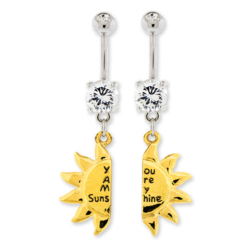 Metal Mafia Sun Best Friend Belly Ring Set (BNASUNBF)
