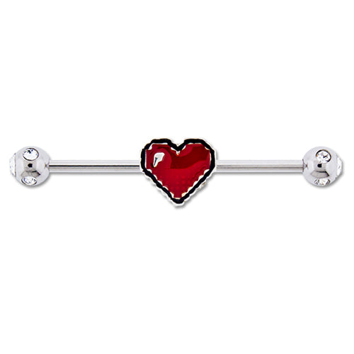 Metal Mafia Pixelated Heart Industrial Barbell (BRINDVD3)
