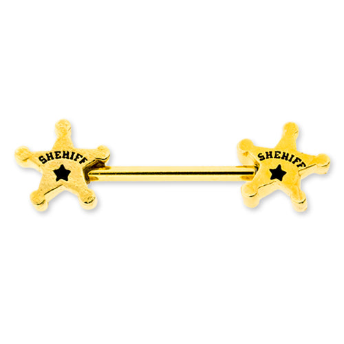 Metal Mafia Sheriff Nipple Barbell (NPSHF)