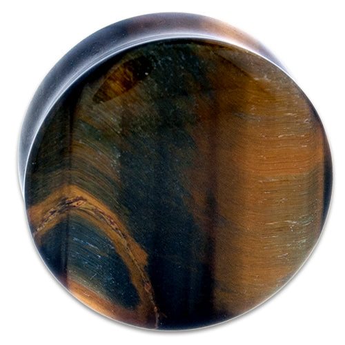 Metal Mafia Blue Tiger Eye Stone Plug - PAIR - (PBLTE)