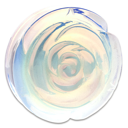 Metal Mafia Rose Carved Opalite Stone Plugs - PAIR - (PRSOPL)
