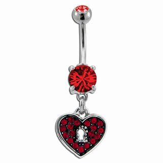 Metal Mafia Red Pave Heart Locket Belly Ring (BNAHR6)