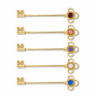 Metal Mafia SS Gold Key with Opal Industrial Barbell (BRINDKY4)