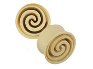 Tribalectic Crocodile Wood Carved Spiral Plug (PG302)