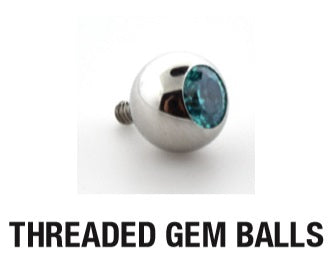LeRoi Stainless Steel Threaded Gem Ball End (Top Set)