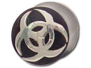 Tribalectic Sterling Silver Design Plug: Biohazard