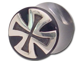 Tribalectic Sterling Silver Design Plug: Iron Cross