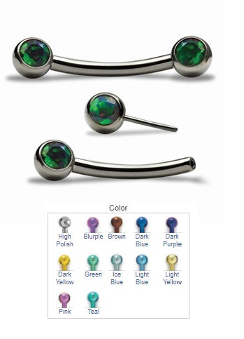 NeoMetal Titanium Threadless Curved Barbell with Double Side-Set Gems
