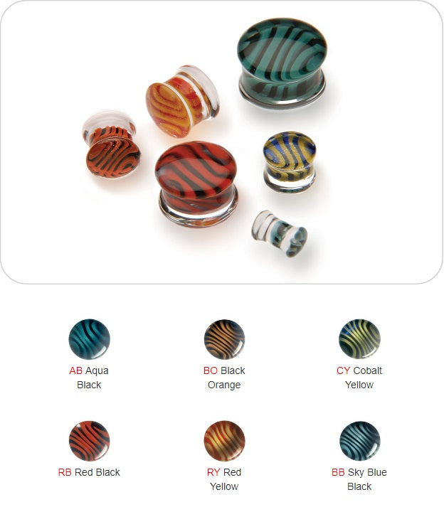 Gorilla Glass Pair of Glass Double Flared Tiger Stripes Plugs