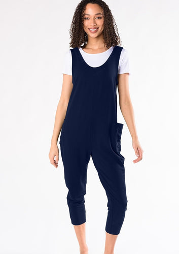 The Jayla relaxed lounge jumpsuit is roomy and has a waist less silhouette that makes it easy to wear at home or for a casual day out. Wear alone or layer your favourite t-shirt underneath! Add a pair of your favourite sneakers for an effortless look. Fabrication: 95% Viscose from Bamboo 5% Spandex (French Terry) TERRERA $100 Ink Blue