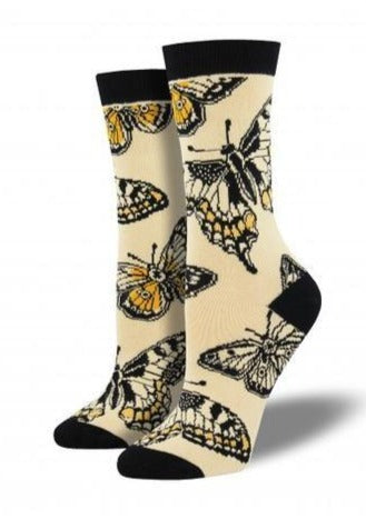 Ivory White with Monarch Butterflies. Soft, Breathable, Moisture Wicking, Antibacterial, Hypoallergenic, Amazing Socks! One Size Fits Most (Women's 5-11) Fabrication: 66% Rayon from Bamboo, 32% Nylon, 2% Spandex SockSmith $18.00