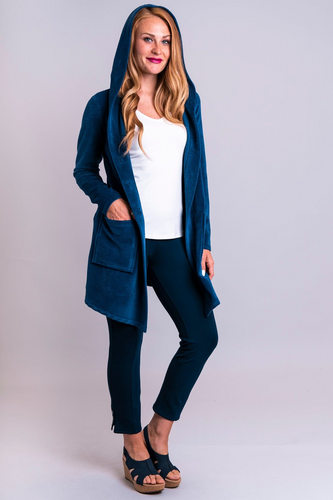 A beautiful long jacket in Blue Sky's cotton velvet. Patch pockets, large hood and mixed-but-matched buttons are casual, but the shawl collar has a tailored touch.  This specific blue that suits every skin tone.  Fabrication: 50% Bamboo, 50% Cotton  BLUE SKY Colour Blue $95.00
