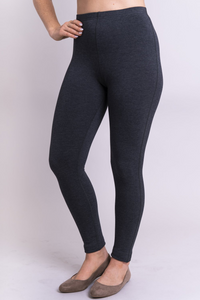 The flocked lining of Bobbi Bamboo Fleece Leggings provides ultra-soft insulation against cold and damp. deep rise ensures a fit to the natural waist, and a gusset allows for active wear with no seam separation. The waistband is wrapped elastic, with a single flat-locked seam. In addition, natural fibres are soft, breathable, and moisture-wicking  Fabrication: 67% Bamboo, 28% Cotton, 5% Lycra  BLUE SKY  Blue Sky fit guide - generous. Go down a size $65.00 colour Granite Grey