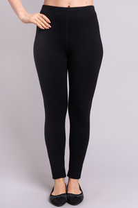 The flocked lining of Bobbi Bamboo Fleece Leggings provides ultra-soft insulation against cold and damp. deep rise ensures a fit to the natural waist, and a gusset allows for active wear with no seam separation. The waistband is wrapped elastic, with a single flat-locked seam. In addition, natural fibres are soft, breathable, and moisture-wicking  Fabrication: 67% Bamboo, 28% Cotton, 5% Lycra  BLUE SKY  Blue Sky fit guide - generous. Go down a size $65.00 colour Black
