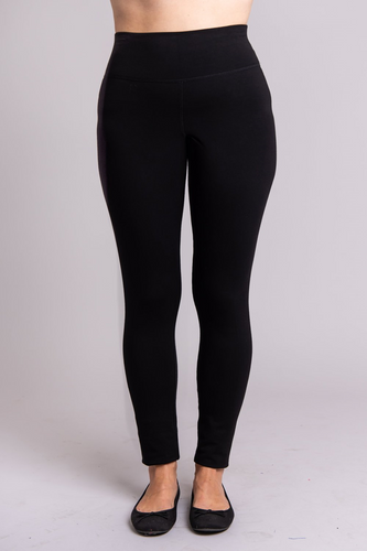 Dixie Leggings are fleece-lined, cozy, soft and warm, you will love them. Comfort and stretch, plus flocked lining that provides ultra-soft insulation against cold and damp. The fabric waistband means no binding and a smooth finish up to your waist. Flat locked seams stay tight, and a gusset prevents splitting.  Fabrication: 67% Bamboo, 28% Cotton, 5% Lycra  BLUE SKY $65.00 colour Black