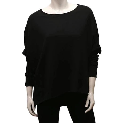 A throw on your body and go piece; the French Terry Sweatshirt has a high/ low hemline, loose Dolman sleeves. Made of Bamboo it is cool in the summer and warm in the winter making it an excellent choice that can be worn all year round. (One Size)  Proudly Made in Canada  Fabrication: 66% Bamboo, 28% Cotton, 6% Spandex   GILMOUR Black $90.00