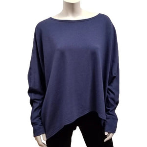 A throw on your body and go piece; the French Terry Sweatshirt has a high/ low hemline, loose Dolman sleeves. Made of Bamboo it is cool in the summer and warm in the winter making it an excellent choice that can be worn all year round. (One Size)  Proudly Made in Canada  Fabrication: 66% Bamboo, 28% Cotton, 6% Spandex   GILMOUR Denim Blue $90.00