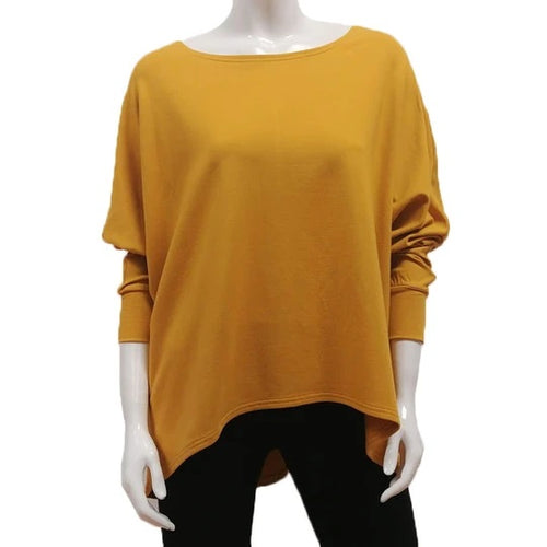 A throw on your body and go piece; the French Terry Sweatshirt has a high/ low hemline, loose Dolman sleeves. Made of Bamboo it is cool in the summer and warm in the winter making it an excellent choice that can be worn all year round. (One Size)  Proudly Made in Canada  Fabrication: 66% Bamboo, 28% Cotton, 6% Spandex   GILMOUR Gold Yellow $90.00