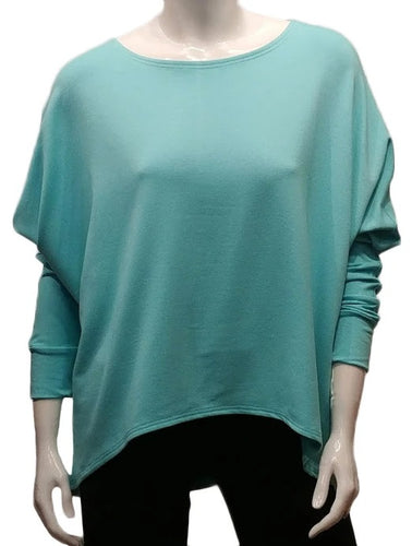 A throw on your body and go piece; the French Terry Sweatshirt has a high/ low hemline, loose Dolman sleeves. Made of Bamboo it is cool in the summer and warm in the winter making it an excellent choice that can be worn all year round. (One Size)  Proudly Made in Canada  Fabrication: 66% Bamboo, 28% Cotton, 6% Spandex   GILMOUR Tiffany Green $90.00