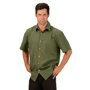 The Will Short Sleeve Button Up Hemp Shirt is a must have for your every day wardrobe, with wood buttons and a single pocket on the right. A great selection of colours, you will want more then one. Fabrication: 55% Hemp, 45% Organic Cotton Eco-Essentials Colour Olive Green $70.00